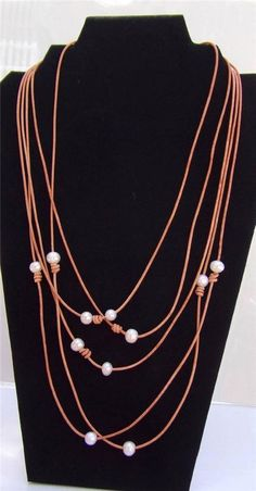 Pearl and Leather Necklace Wrap Style Can Be Worn Many Ways Headband Made In USA #GilligansBoutique #Cluster