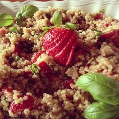 Strawberry Balsamic Quinoa: This quinoa salad makes the most of a delicious flavor combination: fresh strawberries, basil and balsamic vinegar. Kids will have fun mixing the balsamic vinegar with olive oil and honey while preparing the vinaigrette.#KidsCookMonday