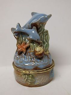 Dolphin Seascape Trinket Box with Hinged Lid.