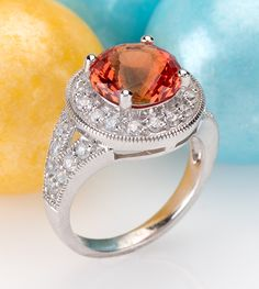 Sweet treats like this ring are exactly what we ordered! Orange you glad it's just in time for fall? | 5.25ct Lab Created Padparadscha Sapphire With White Zircon .90ctw Sterling Silver Ring