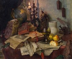 Josef Schuster (1812-1890) - Still life with books, oil on panel.  Things of beauty I like to see