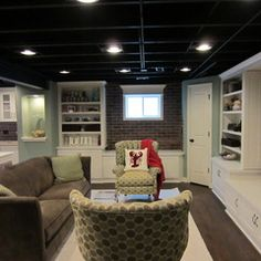 Love The Built Ins In Basement Brick Walls And Ceiling Unfinished Ceilings Design Pictures Remodel Decor Ideas