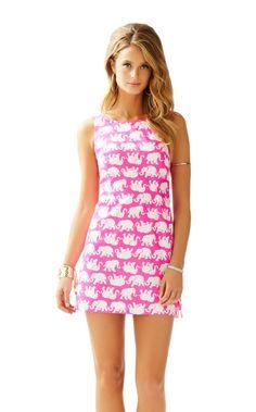 Delia Shift Dress - Lilly Pulitzer Pop Pink Tusk In Sun Middle Elephant  Leggings b362de985