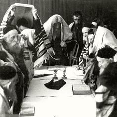 Jews at prayer during High Holidays in the Warsaw Ghetto, Poland
