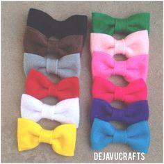 Mini felt bows 12 colors by dejavucrafts on Etsy