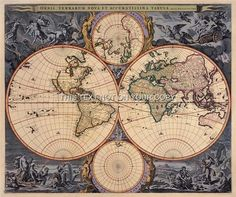 Visscher Antique Vintage Blue Colour Color Old World Map Plan Double Hemisphere   eBay