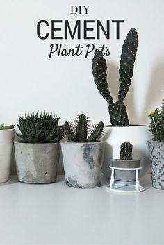 DIY Marbled Cement Plant Pots