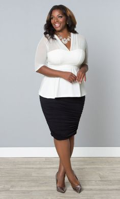 Curvalicious Clothes::Plus Size Tops::Pretty Peplum Mesh Top
