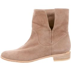 Pre-owned Stuart Weitzman Suede Round-Toe Ankle Boots ($130) ❤ liked on Polyvore featuring shoes, boots, ankle booties, neutrals, tan ankle boots, stacked heel booties, suede ankle booties, tan suede ankle booties and suede bootie