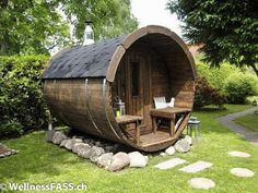 Barrel outdoor sauna for your backyard Sauna Design, Shed Design, Outdoor Sauna, Outdoor Decor, Barrel Sauna, Shed Builders, Building A Shed, Building Plans, Shed Plans
