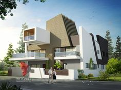 A great ultra modern bungalow design gives a complete new style statement to your dream project. Bungalow style means different things to different people and is therefore not a particularly pre… Bungalow Interiors, Bungalow House Design, House Front Design, Hotel Interiors, Modern House Design, Modern Houses, Exterior Rendering, Exterior Design, 3d Rendering