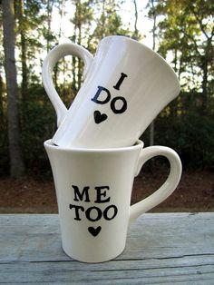 Set of I do Me Too mugs kiln fired art pottery