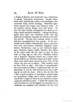 """1830s. """"Chatham Sq. was a disgrace, Houston St. a vanity fair: on the Bowery,o Division, Grand and other streets there were small stores owned by Jews; but, on the whole, the Jew cut no figure."""" Reminiscences.By Isaac Mayer Wise"""