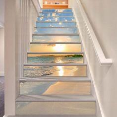 3D sunset beach view Risers Decoration Photo Mural Vinyl Decal Wallpaper US   Home & Garden, Home Décor, Decals, Stickers & Vinyl Art   eBay!