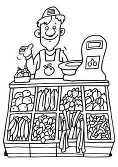 Kleurplaat winkelier groentenwinkel