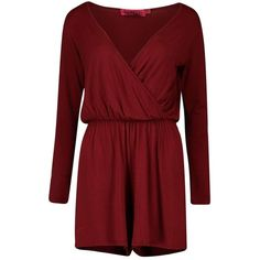 Boohoo Tall Aveline Wrap Front Long Sleeve Playsuit (€22) ❤ liked on Polyvore featuring jumpsuits, rompers, going out rompers, party rompers, long sleeve jersey, long-sleeve romper and playsuit romper