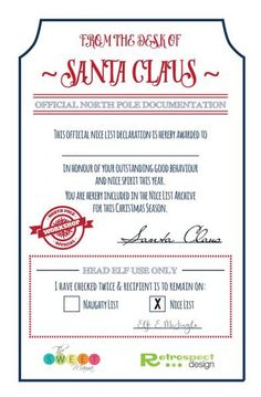 Santa's Nice List Certificate for kids at Christmas! FREE download for printable, prints TWO certificates.