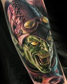 The Green Goblin by Michel Schwarzenberger, an artist at Black Rainbow Tattoo Theatre in Zwickau, Germany. Tv Tattoo, Sick Tattoo, Badass Tattoos, Great Tattoos, Beautiful Tattoos, Body Art Tattoos, Tattoo Ink, Tatoos, Body Tattoo Design