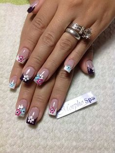Square Nail Designs, Purple Nail Designs, French Nail Designs, Cute Nail Designs, Glam Nails, Nail Manicure, Cute Nails, Pretty Nails, Daisy Nails