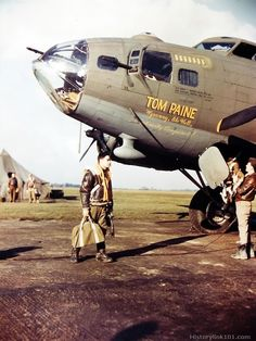 Boeing B-17 Flying Fortress prepares for mission. When the men of an 8th Air Force group gave the town of Thetford, England, a plaque, hono...