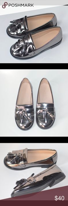Zara Toddler Silver Metallic Toddler Girl Shoes Real Cute Brand New Zara Metallic Silver Loafers size 9 Zara Shoes Flats & Loafers