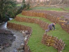 Willow spiling is the most common and best known green solution for bank revetment. The technique uses woven living willow to form flexible, live, growing structures which resist and deflect water flows, enabling the bank and vegetation to naturally re-generate and stabilise to prevent further erosion.