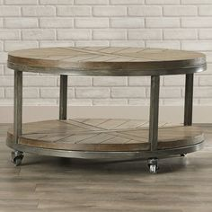 Vintage Round Coffee Table With Industrial Casters Wood And Metal Construction Contemporary Living Room Table *** Click the picture for additional details. (This is an affiliate link). Coffee Table With Casters, 3 Piece Coffee Table Set, Rustic Coffee Tables, Round Coffee Table, Coffee Table With Storage, Furniture Making, Furniture Sets, Furniture Stores, Furniture Design