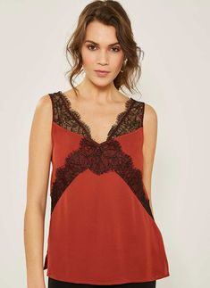 Buy Mint Velvet Rust/Black Lace Strap Cami from the Next UK online shop Black Laces, Perfect Match, Bodice, Camisole Top, Tank Tops, Formal Dresses, Model, How To Wear, Rust