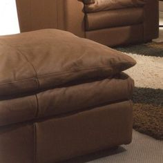 Omnia Leather Oregon Cocktail Ottoman Body Fabric: Softsations Swiss Coffee, Seat Cushion Fill: Down Cushion Fill