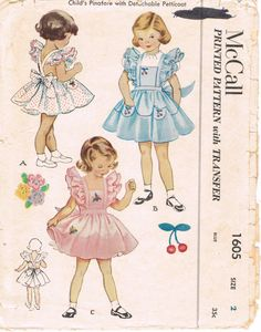 McCalls 1605  Vintage 1950s Sewing Pattern  Girl's