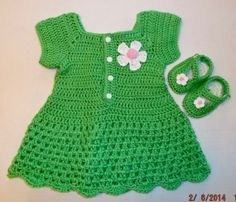 Baby Girl Green Dress & Shoes by KDsKidsCrochet on Etsy, $40.00