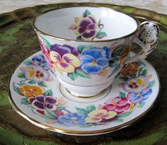 "Bright Floral Pansy Handle Royal Stafford "" Viola "" Tea Cup and Saucer Set"