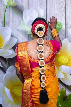 Order Fresh flower poolajada, bridal accessories from our local branches present over SouthIndia, Mumbai, Delhi, Singapore and USA. Telugu Brides, Telugu Wedding, Banarsi Saree, Indian Flowers, Hindu Bride, South Asian Bride, Flower Garlands, Indian Bridal, Fresh Flowers