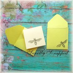 6 Bee Mini Cards .... Yellow Hand Stamped by SweetlyScrappedArt Hand Stamped, Cardmaking, Embellishments, Bee, Paper Crafts, Yellow, Unique Jewelry, Mini, Handmade Gifts