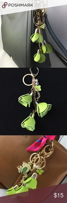 Flower Tassel Purse Charm ,Lime Green,Faux Leather This striking purse charm/key chain made of three flower tassels will add pizazz to your favorite Spring or Summer handbag. Gold tone clasps. See my other listings for additional purse charms and accessories. (Last picture shows this charm paired with our frog charm-- also available in my listings.) Bundle for a discount. I ship quick! Accessories Key & Card Holders