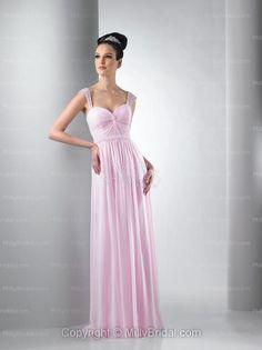 Column Sweetheart Pink Chiffon Pleated Belt Floor-length Bridesmaid Dress