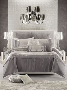Glamorous bedroom in white, silver and shades of grey