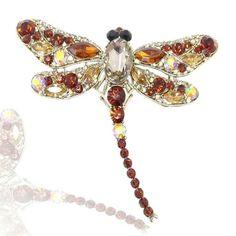 Brown Swarovski Crystal Dragonfly Brooch