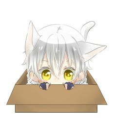 Come out of the box cute little Neko boy Anime Kawaii, Chibi Kawaii, Chibi Boy, Loli Kawaii, Cute Chibi, Anime Chibi, Manga Anime, Anime Art, Yandere