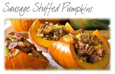 Get the recipe here!  A Must Try! These delicious #sausage stuffed #pumpkins are the perfect way to start fall off with a bang! #Pecans, #driedcranberries, #celery and our flavorful sausage stuffed and baked in a sweet quartered #pumpkin. Yummm! Fall has never tasted so good!