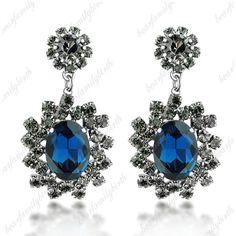 Fashion Swarovski Sapphire Crystal Earrings Posh Cluster Womens Ladys Gift E284 #Bearfamilybirth #Cluster