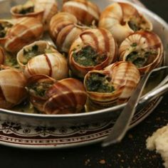 Snails in Garlic–Herb Butter by Saveur. In this version of this rich, timeless dish, the butter is given an aromatic edge by the addition of Pernod. Seafood Recipes, Appetizer Recipes, Appetizers, Escargot Recipe, Snails Recipe, French Cooking Recipes, Garlic Herb Butter, Food Concept, Butter Recipe