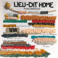 Ableau Punchneedle of the different points made with a needle Oxford 10 . Diy Embroidery, Cross Stitch Embroidery, Embroidery Patterns, Diy Laine, Punch Needle Patterns, Latch Hook Rugs, Hand Hooked Rugs, Pillow Quotes, Punch Art