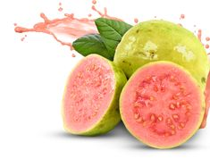 Guava is a tropical fruit: a pear-shaped fruit with red or yellow-green skin and cream or pink flesh which can be eaten raw or made into jelly. Guava Fruit, Pink Guava, Eat Fruit, Fruit Art, Vegetable Illustration, Fruit Illustration, Guava Benefits, Health Benefits, Guava Images