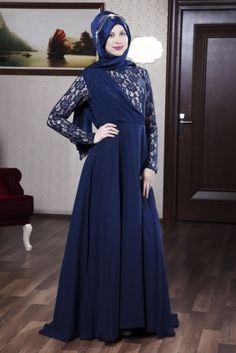 Azra Özer Lacivert Mimoza Tesettür Abiye Elbise