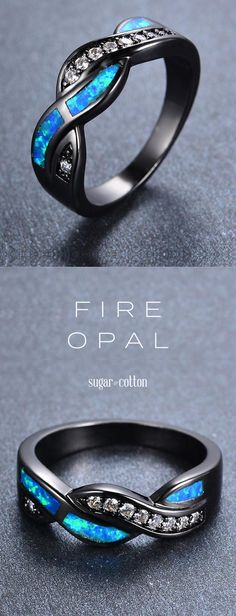Adorn yourself in this exotic, flawless ocean opal ring now off! Online Exclusive not available in stores! Accented with crystal studs & intertwined with premium Fire Blue Opal Black Gold Filled Free Worldwide Shipping & MoneyBack Guaran Cute Jewelry, Jewelry Box, Jewelry Accessories, Jewelry Making, Opal Jewelry, Jewelry Rings, Zales Jewelry, Wolf Jewelry, Opal Earrings
