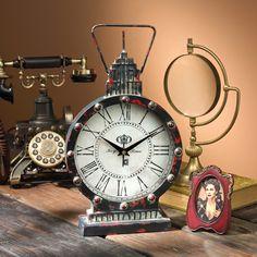 Design Toscano Gotham Steampunk Metal Table Clock