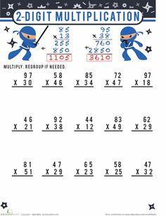 Fourth Grade Math Worksheets: Multiplication Two Digit Multiplication, Long Multiplication Worksheets, Multiplication Problems, Multiplication Strategies, 2nd Grade Math Worksheets, Fourth Grade Math, Third Grade, Homeschool Math, Homeschooling