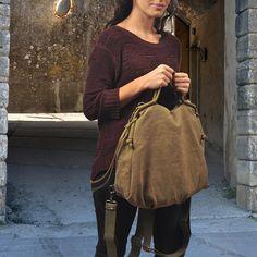 Backpack in BeigeKhaki cotton stonewashed by iyiamihandbags, $129.00