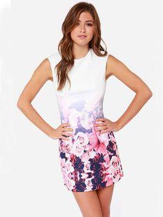Vestido floral sin manga-blanco 18.44